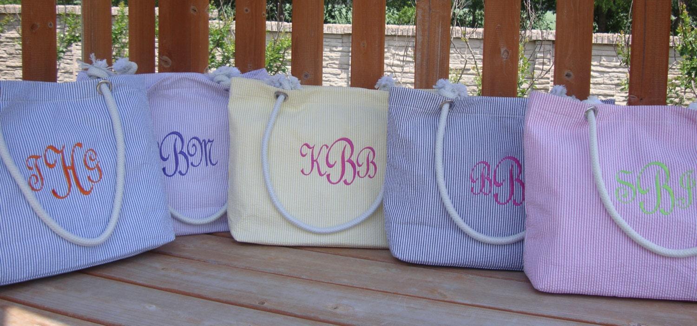 Bridesmaid Gift Seersucker Beach Tote Bags Mother Of By Kutekiddo