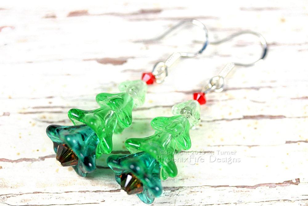 Miniature Christmas Tree Earrings, Czech Glass, Swarovski Crystal, Sterling Silver Hooks, Holiday Jewelry - PhoenixFireDesigns