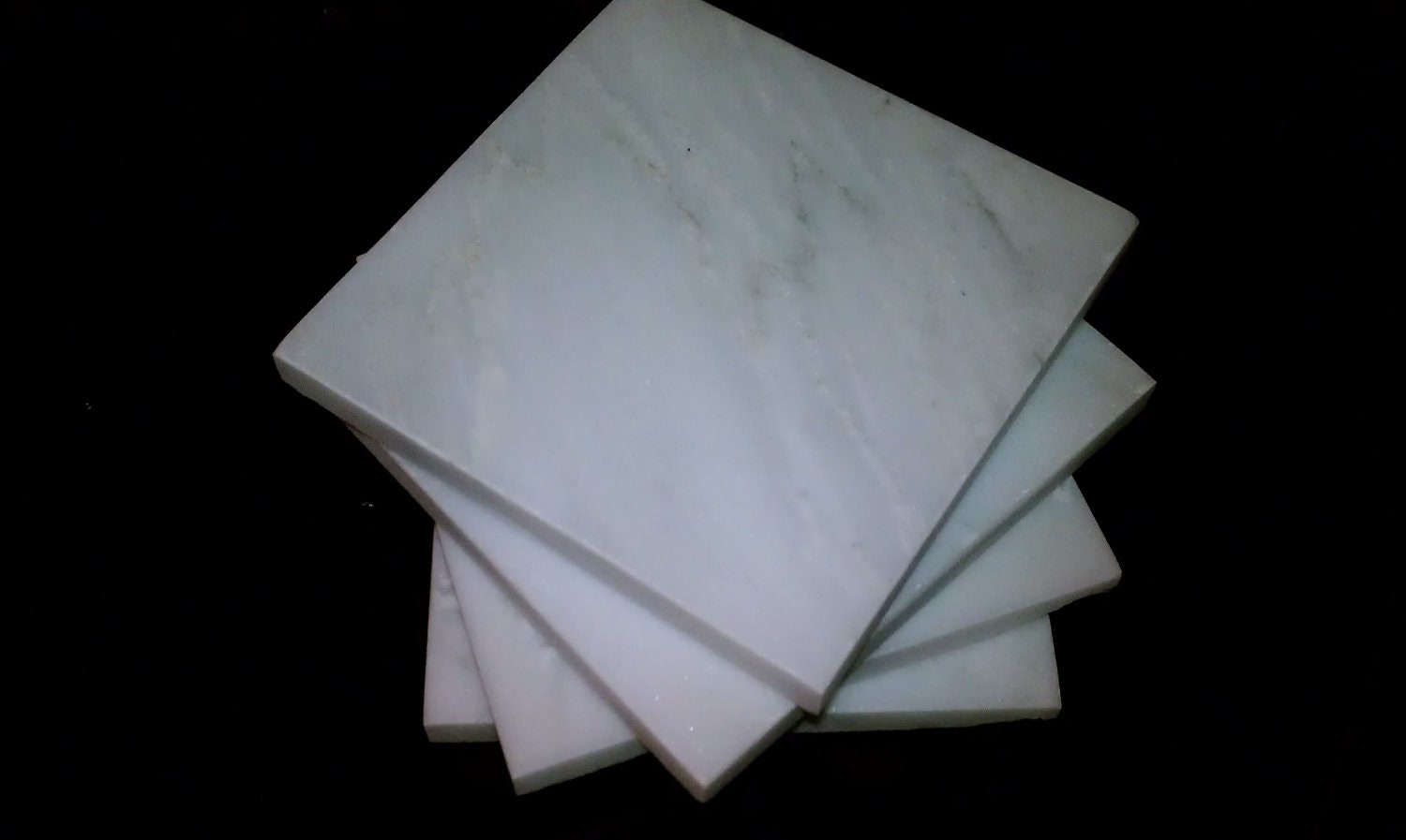 Carrara Marble Coasters 4 X 4 Stone White Drink By