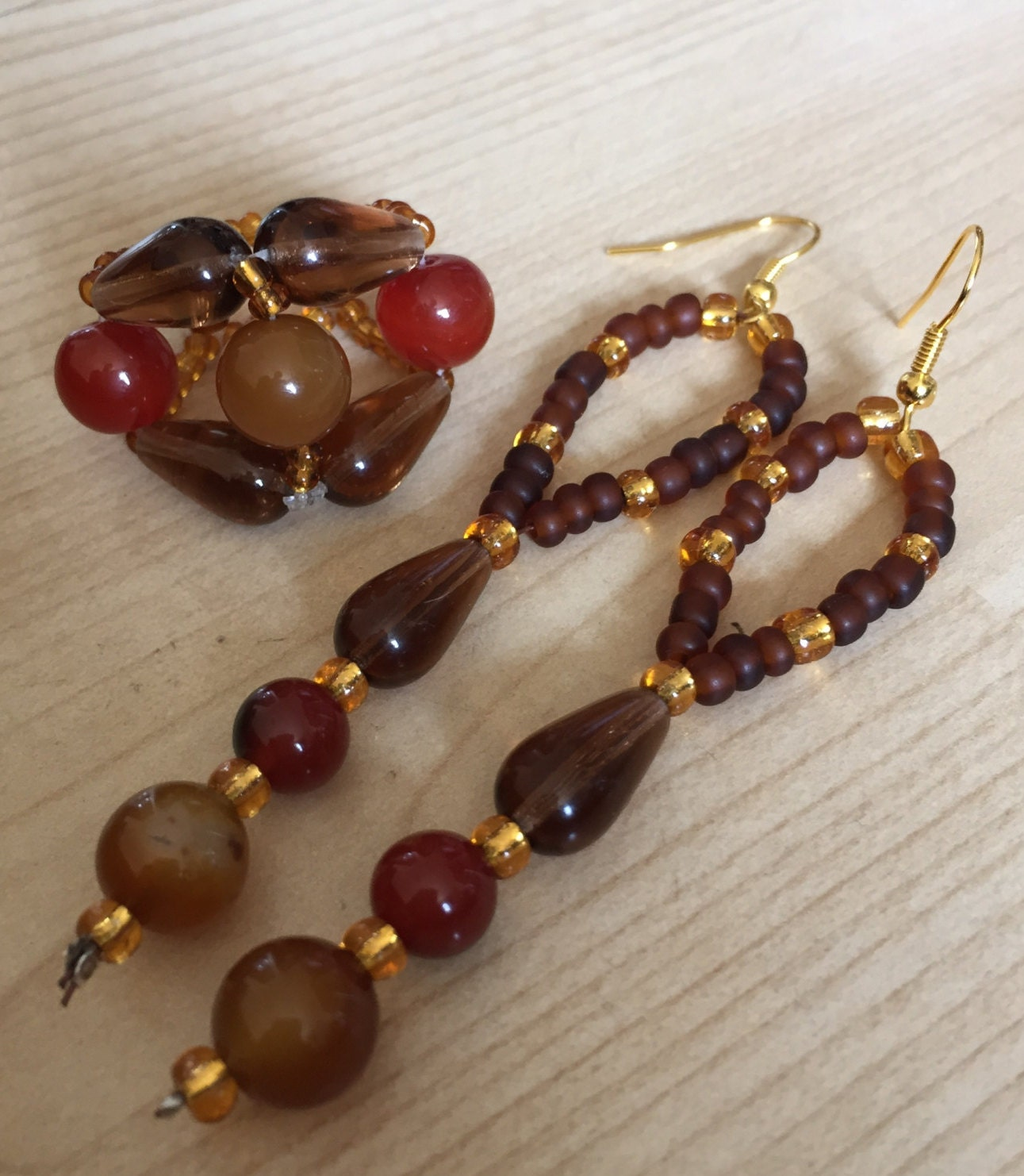 Glass bead ring and earring set  Brown red and gold combination with pear drop detailing