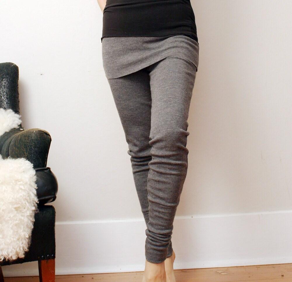 Womens Wool Leggings In Interlock With Skirt And By Sandmaiden