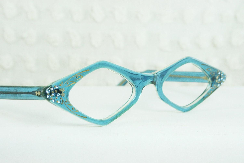 Female Eyeglass Frame : Vintage 1960s Diamond Glasses 60s Womens Eyeglasses by ...