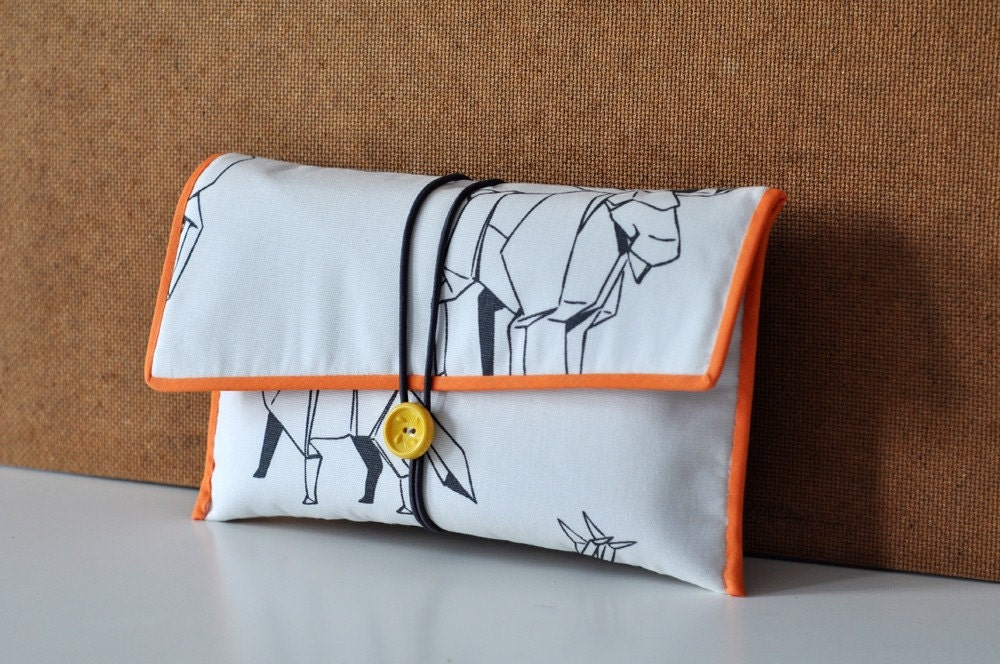 Fabric Button Clutch - Origami Wildlife