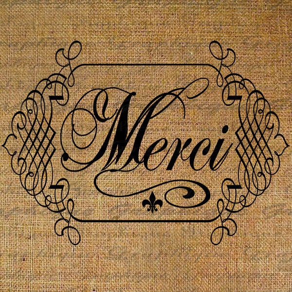 Merci Thank You Calligraphy France French Text Word By