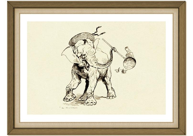 Unavailable Listing on Etsy Vintage Elephant Illustration