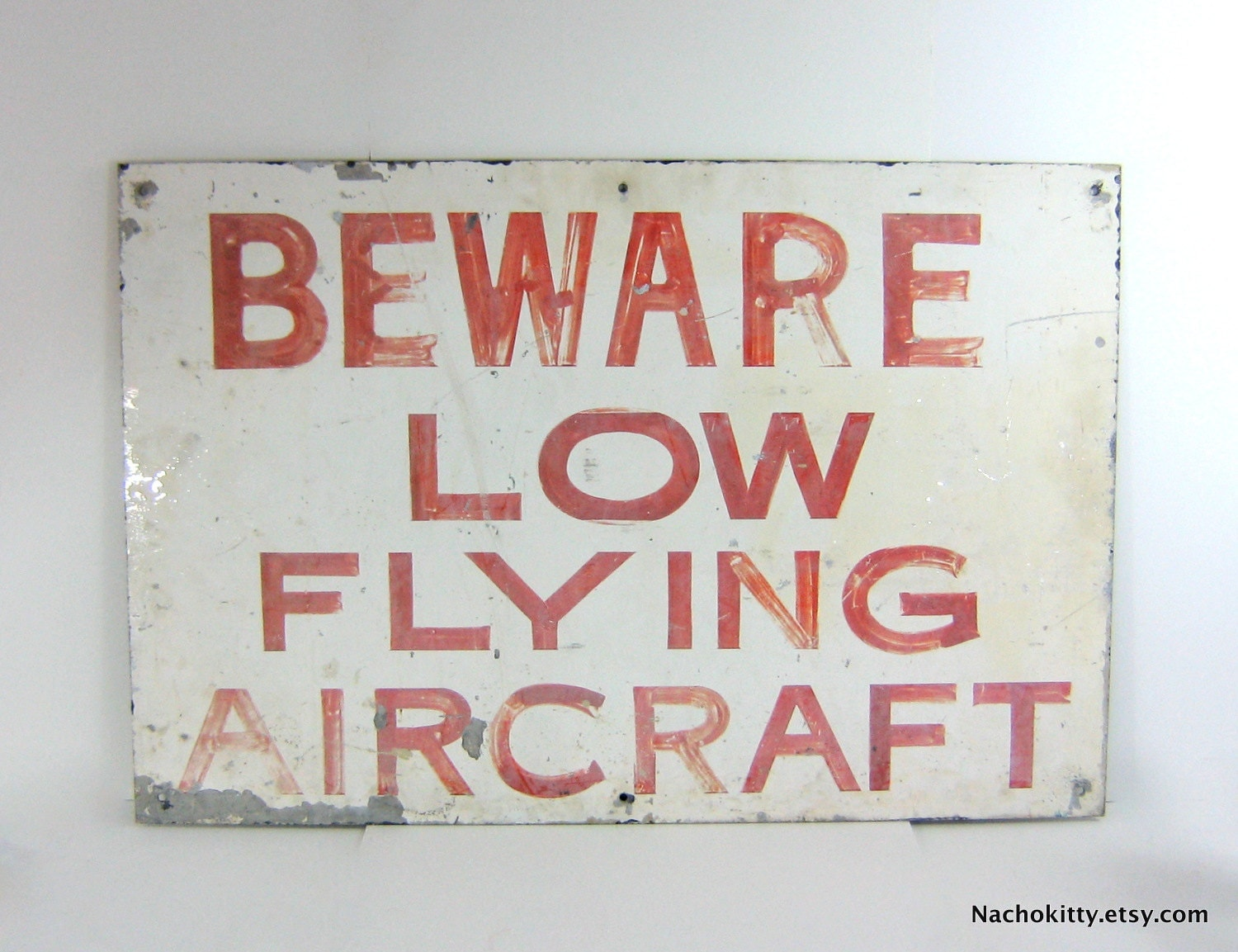 Old Double Sided Metal Sign, Aircraft & Prisoners - Nachokitty
