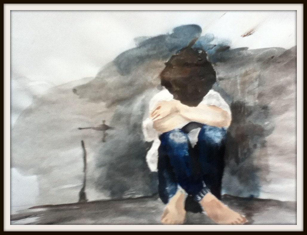 Original Watercolor - Boy - Depression - ArtwithaStory