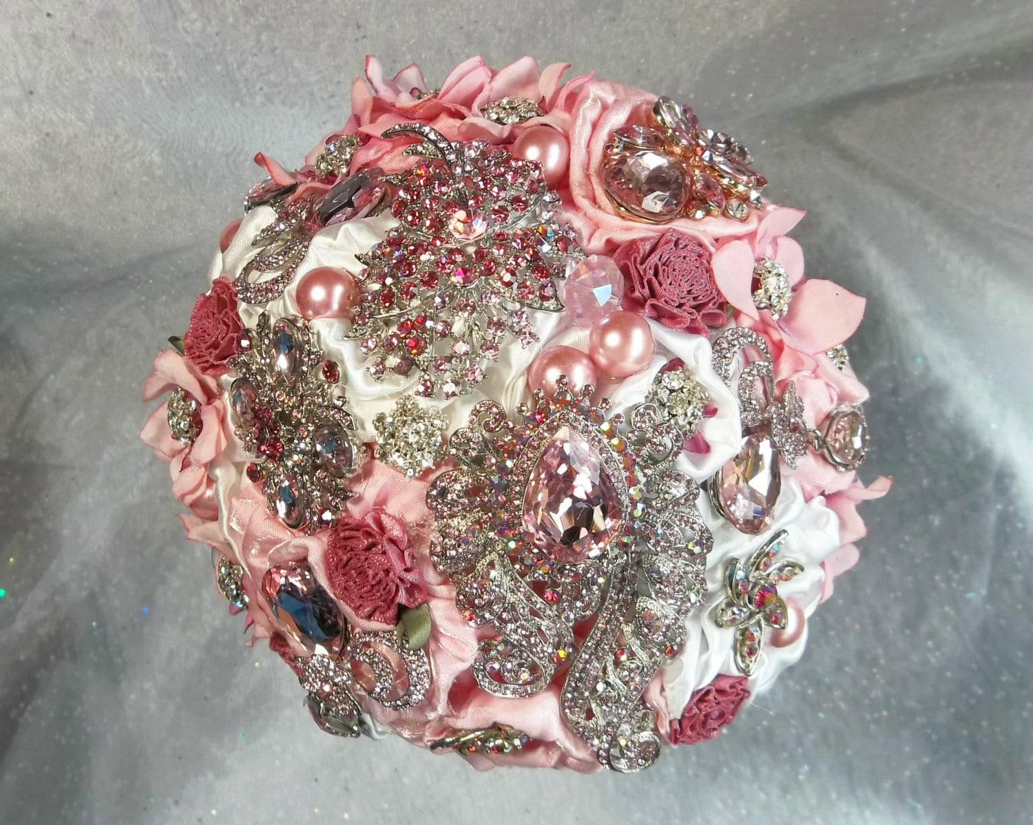 Pink Brooch Bouquet, Pink and Rose Bridal Bouquet