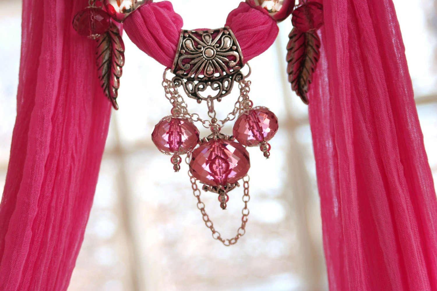 pink pendant scarves jewelry scarves with by