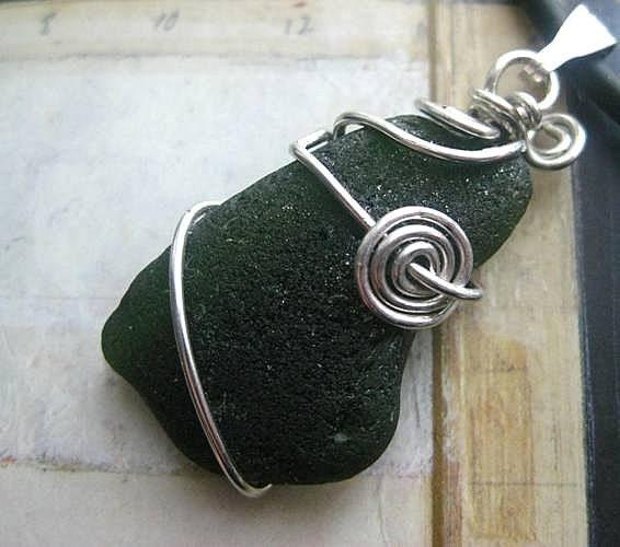Irish Jewelry. Beach Glass Pendant. Dark Forest Green. Ocean Moon