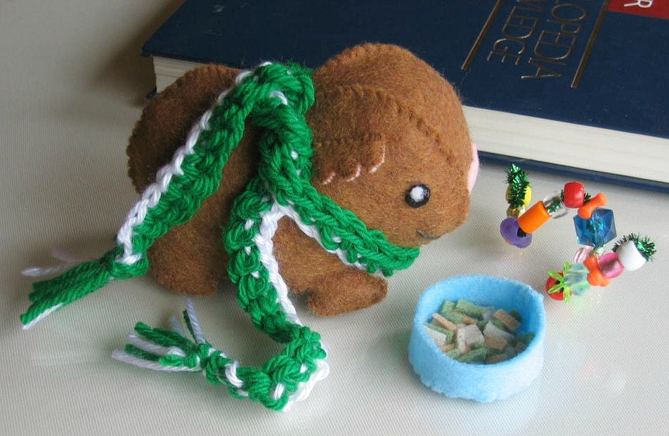 College Dorm Guinea Pig Pet stuffed plush with play food,  toy and college colors crocheted  scarf
