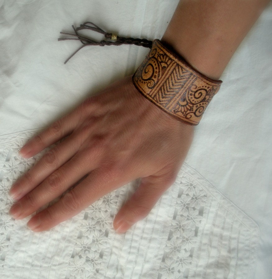 boho leather cuff pyrographed with filigree and chevrons - OurFolkLife