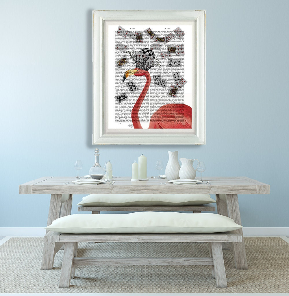Alice in Wonderland Flamingo  wonderland theme gift for alice lover  Flamingo and Cards  alice flamingo print flamingo wall art