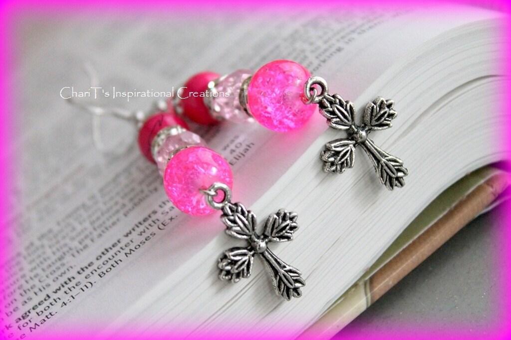 Inspirational Jewelry Pretty in Pink  Cross Earrings