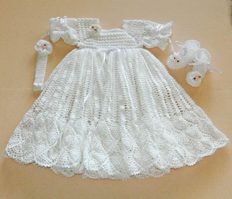 Crochet Pattern For Christening Gown : White Crochet Christening Gown with White by CherryHillCrochet
