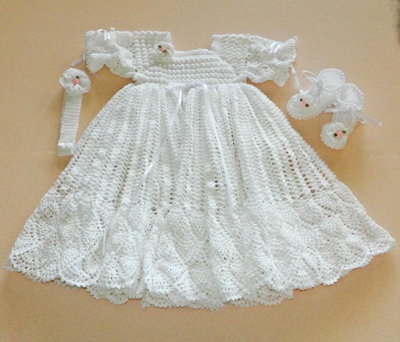 White Crochet Christening Gown with White by CherryHillCrochet