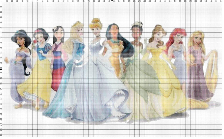 Small Size Disney Princess Cross Stitch Pattern By