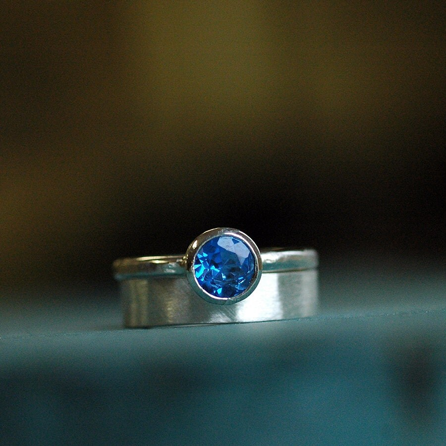 Wedding Engagement Ring Set Wedding Set Sapphire By Thebeadgirl