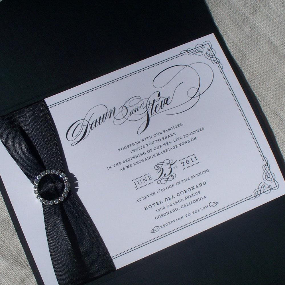 Items Similar To Luxury Wedding Invitation Pocket Fold Set Dawn Vintage Hol