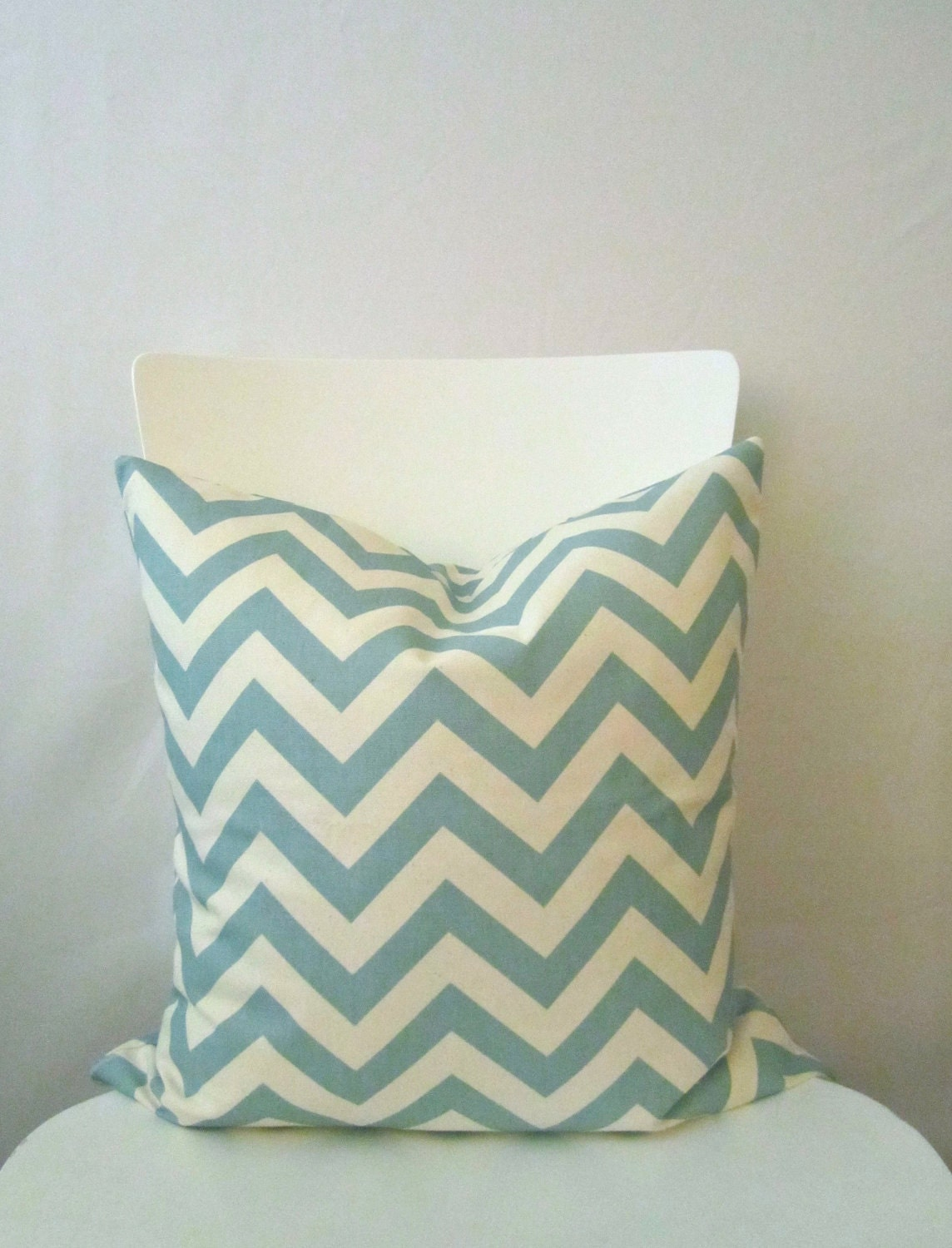 Items similar to 18 inch throw pillow cover, Chevron light blue and white. Zigzag pattern ...