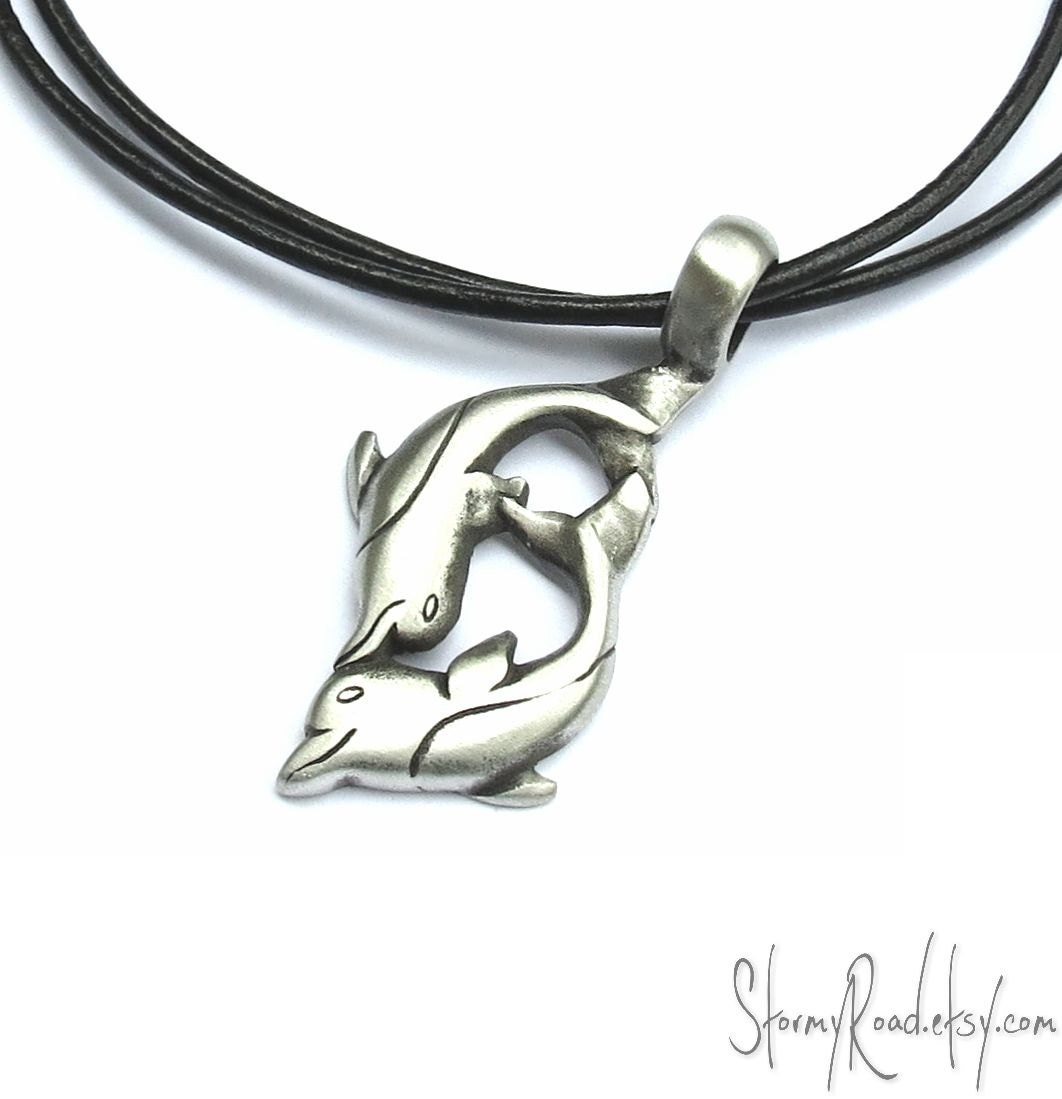 Playful Dolphin Necklace - Dolphin Pendant,  Leather Cord - Dolphin Jewelry, Surfer Necklace - StormyRoad