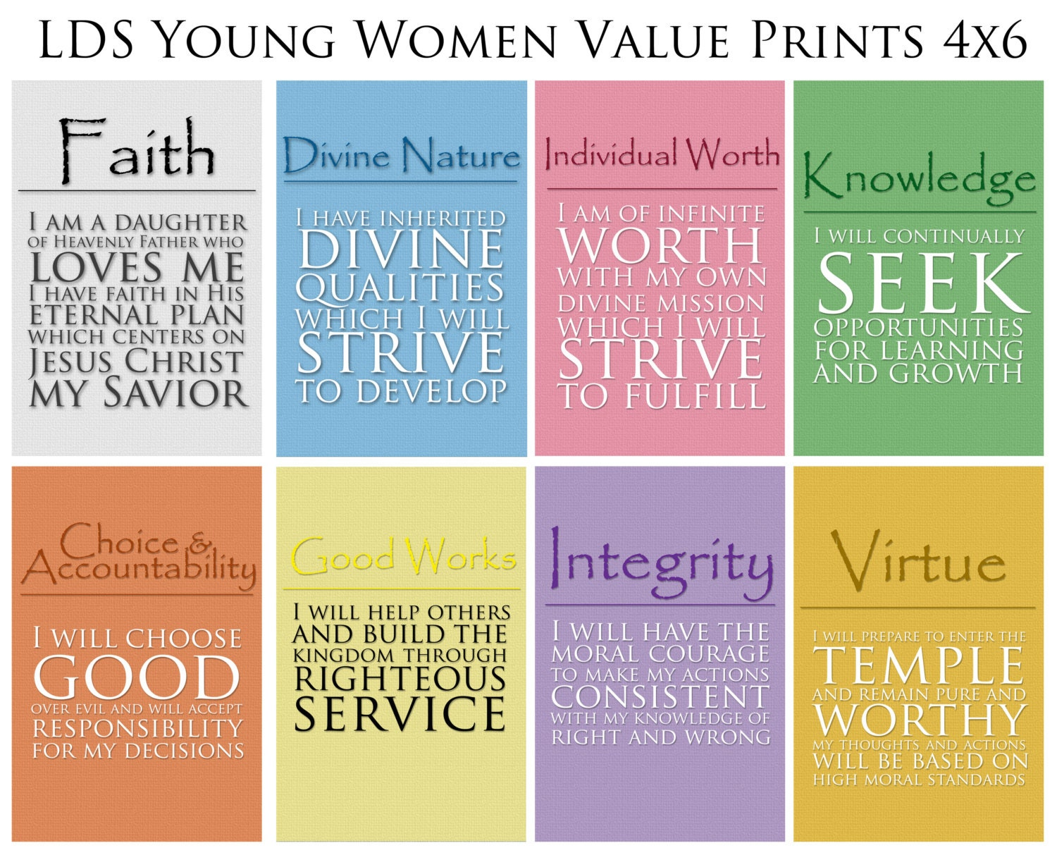 4x6 LDS Young Women Values - 8 print value pack - Digital Prints: www.etsy.com/listing/130967046/4x6-lds-young-women-values-8-print...