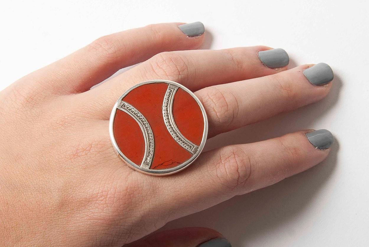 Large round red agate and silver Tuareg ring  US size 9