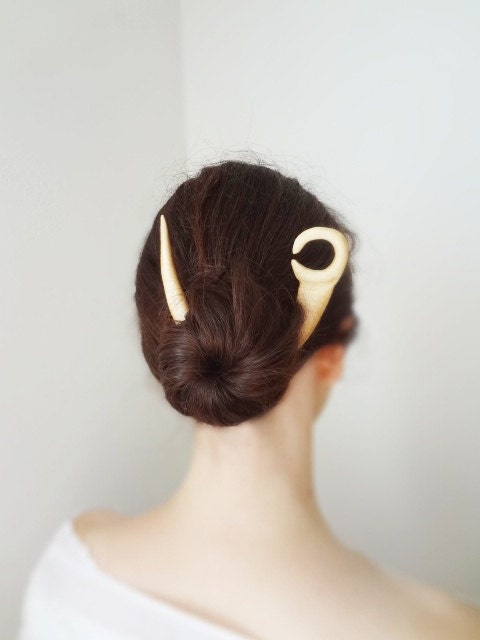 The moon hair stick maple wood tribal moon - theancientmuse