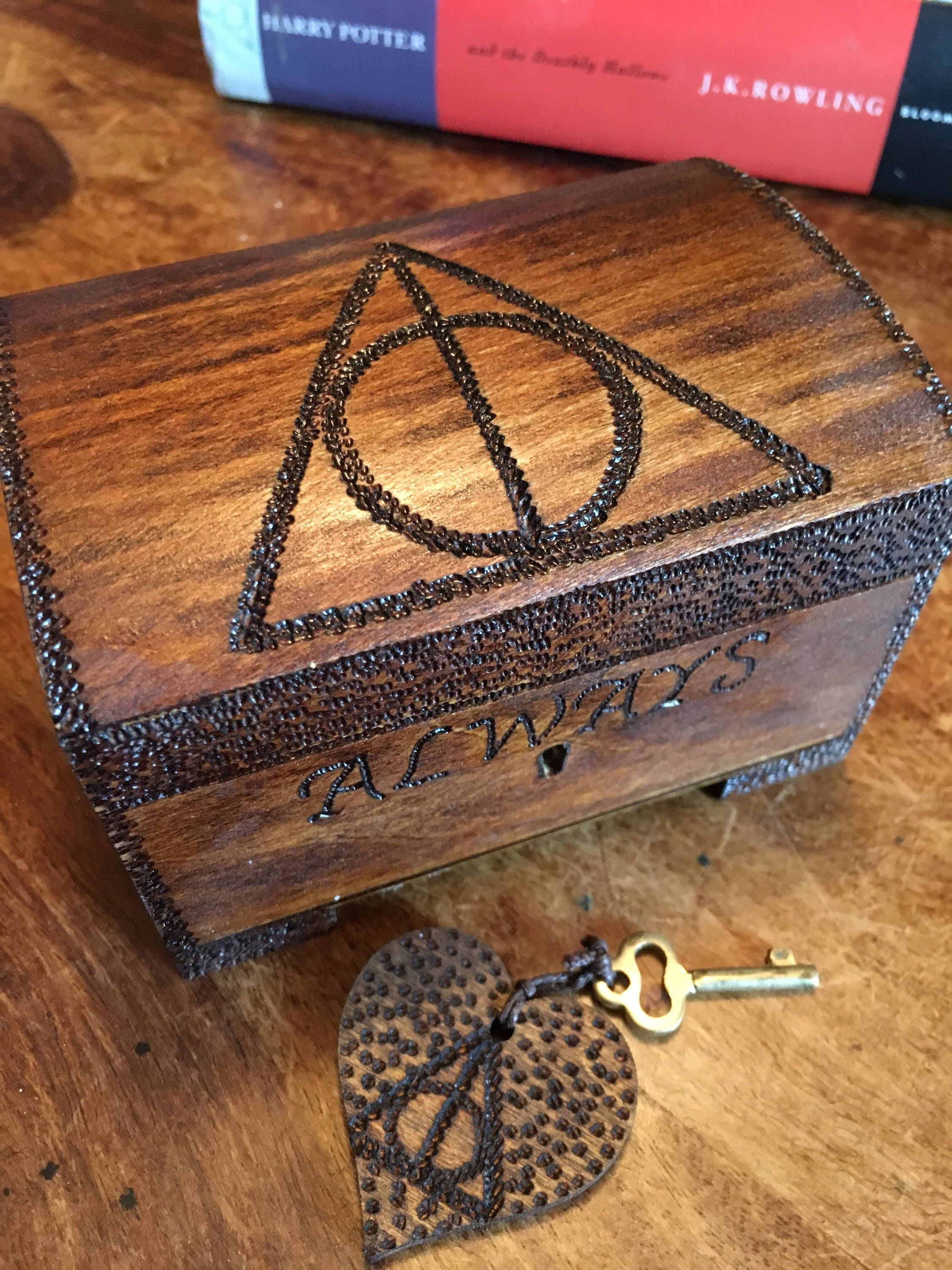 Cute lockable ring box Harry Potter inspired deathly hallows keepsake box secret box