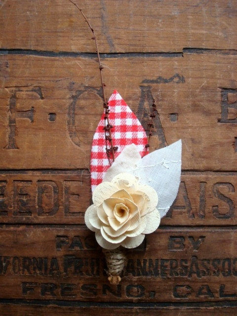Red Gingham Boutonniere - CurtseyBridal