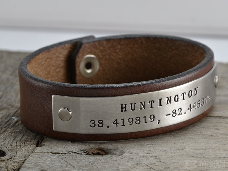 personalized gps coordinates bracelet leather by