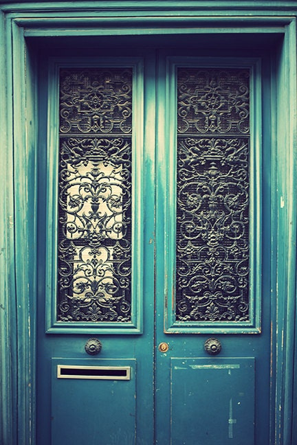 Pretty Parisian Blue/Green Door, Paris Door, Dreamy Colour, Art Decor, Interior Wall Art, size 8 x 12 inches - AilbhePhotography