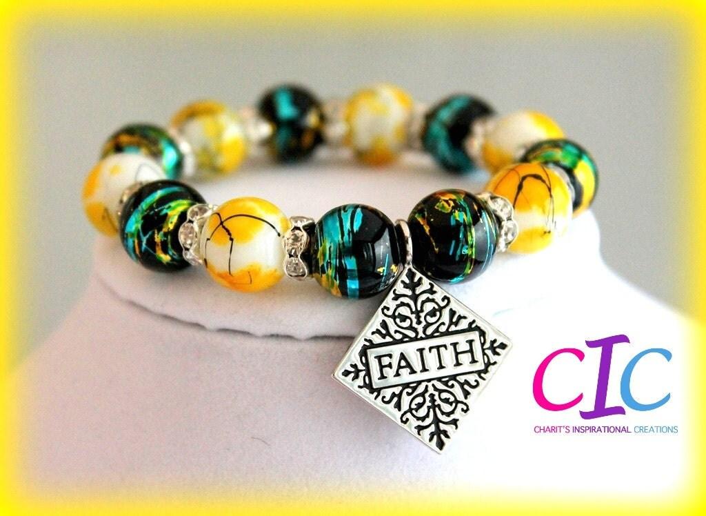 Have Faith Yellow White Black Green Blue Rhinestone Bracelet