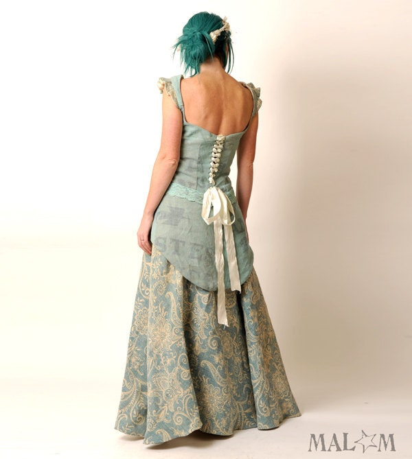 Recycled Eco Wedding Gown with swallowtail lace-up - light blue repurposed linen - Ice Queen - Malam