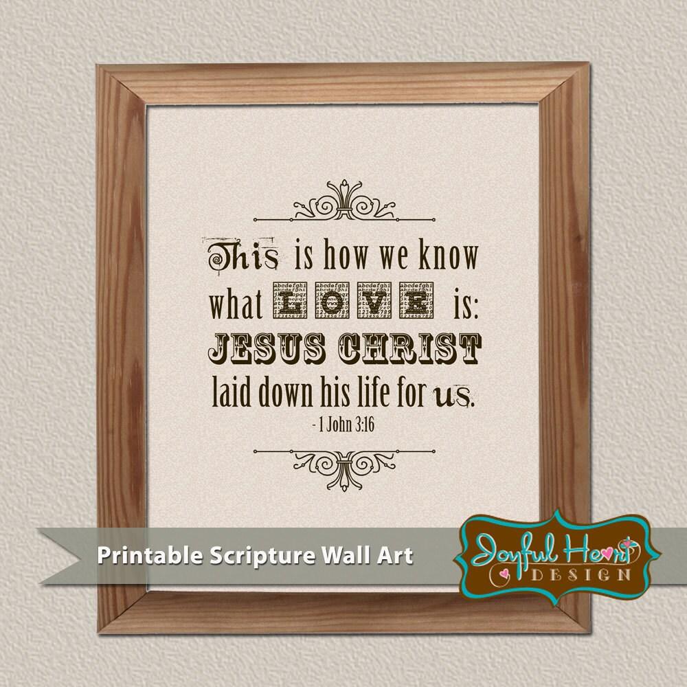 items similar to bible verse wall art printable home decor true love is 1 john 3 16 scripture. Black Bedroom Furniture Sets. Home Design Ideas