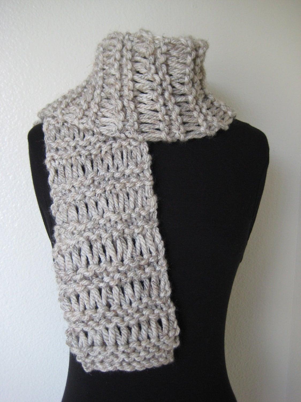 Drop Stitch Knit Hat Pattern : Hand Knit Scarf ... Chunky Drop Stitch Wheat by SerendipStudio