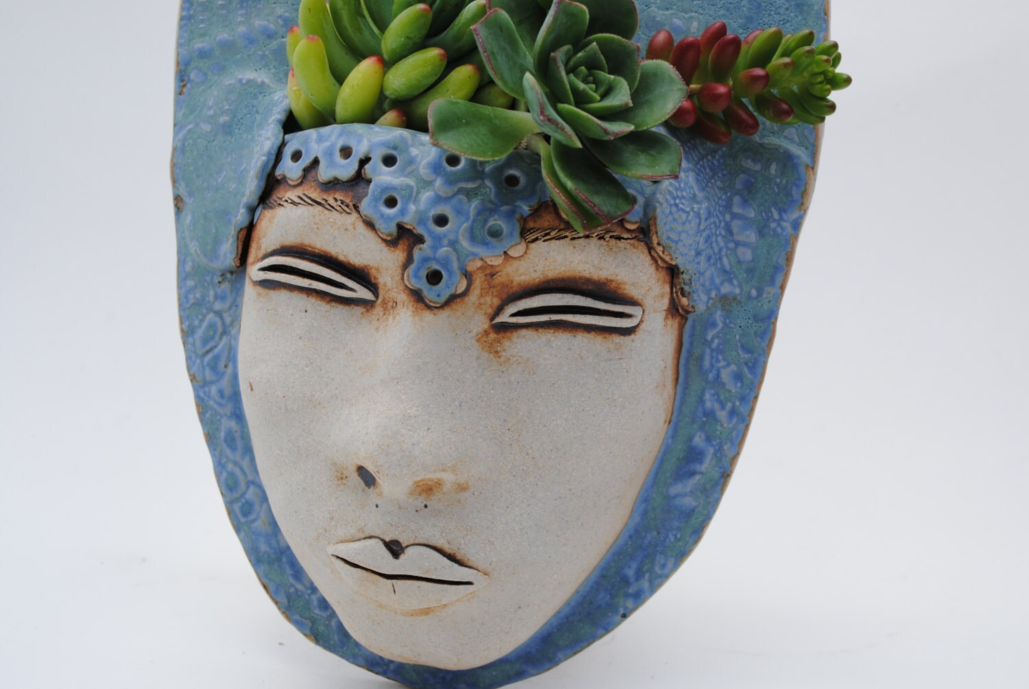 Ceramic Face Planter Garden Art Mask Wall By Wickedclaygirl