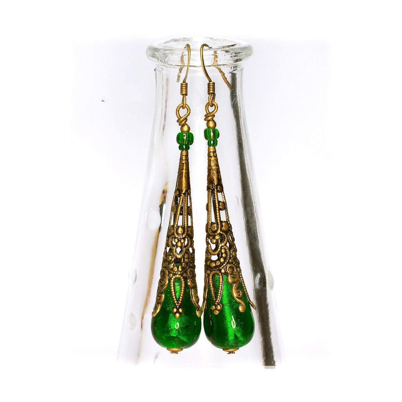 Victorian Style venetian glass earrings  Long Vivid Emerald Green Dangle antique gold, foil glass murano, gift for her - MADEbyMADA