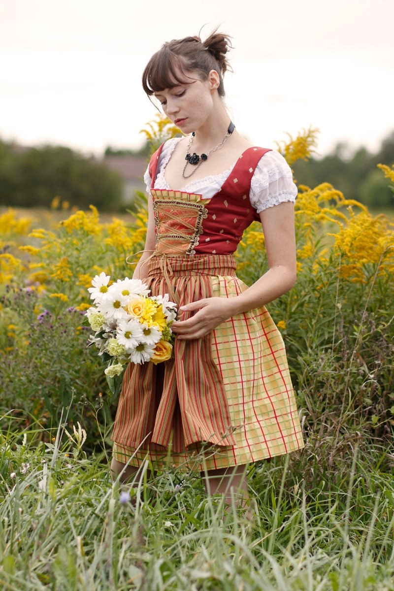 Forever Yours - a fun flirty take on the Bavarian Dirndl Dress - Sexy Oktoberfest Dirndl Costume - Bustier Corset Beer Maid Outfit