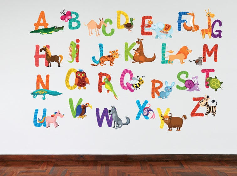 Full Colour Animal Alphabet Kids Wall Decal  Bedroom Educational Playroom Nursery Wall Sticker