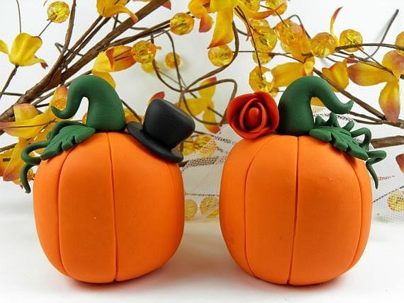 Fall Theme Pumpkin Wedding Cake Topper Polymer Clay - PeeWeesClayHouse