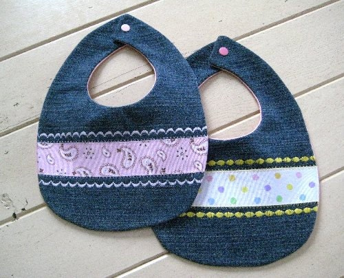 Denim Baby Bibs Set of Two Repurposed Reclaimed Demin Baby Bibs Baby Shower Gift Save the Earth