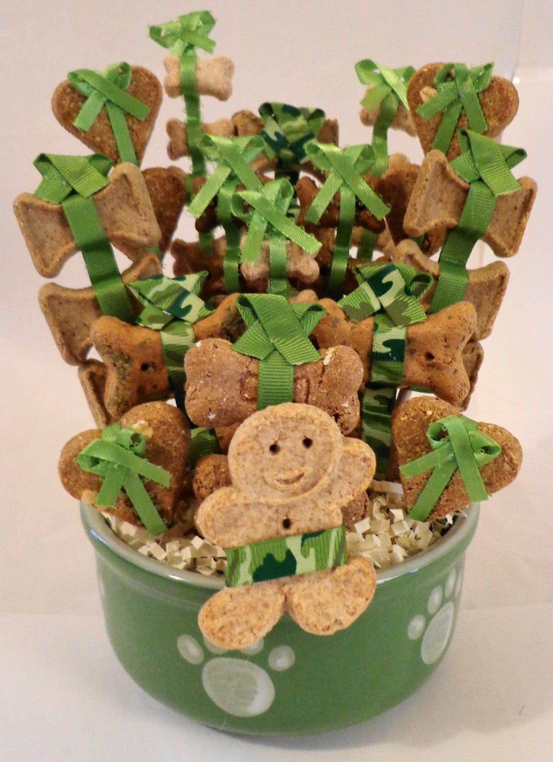 Dog Birthday Gift Baskets : Dog biscuit treat gift basket in green bowl by