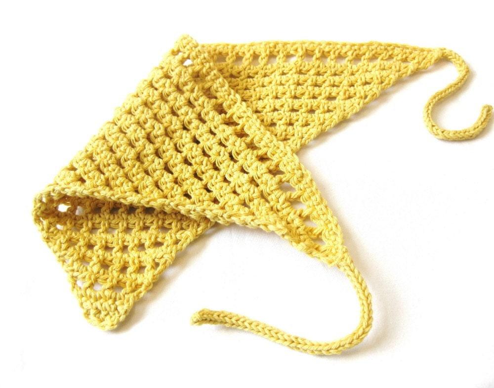 Items similar to hair kerchief - sunshine yellow, crochet in cotton ...