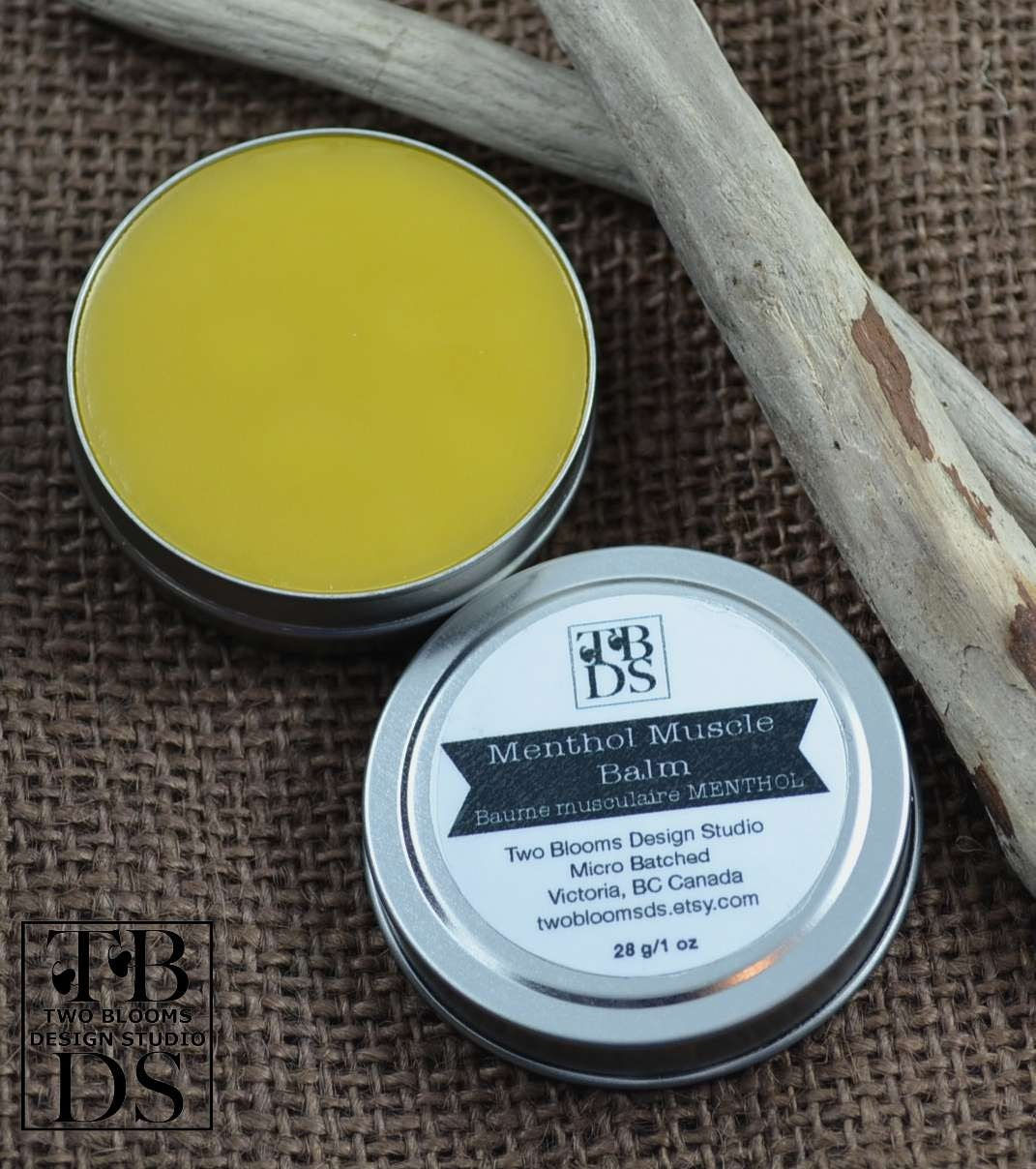 Sore Muscle Rub - Menthol Muscle Balm - Beeswax Balm - Pain Relief Balm - Natural Balm - Beeswax Balm Victoria, BC Vancouver Island Canada - twobloomsds