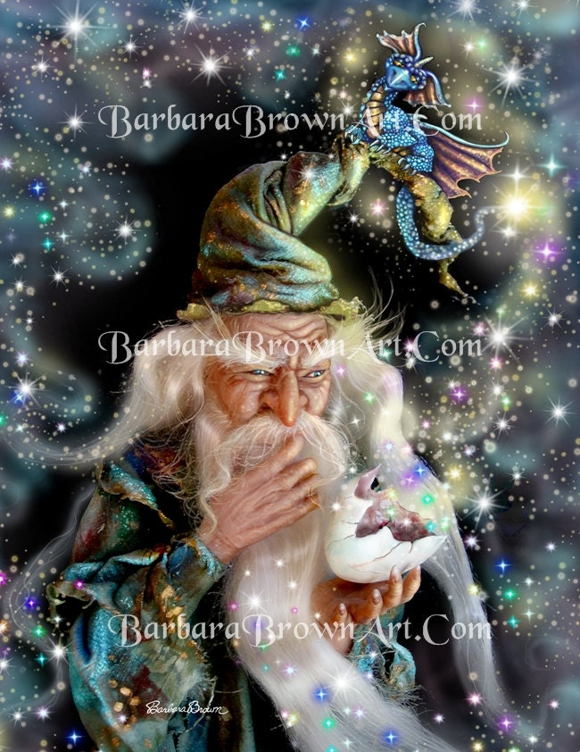 "Where'd He Go ACEO Print 2.5 X 3.5"" by Fantasy Artist Barbara Brown Wizard Dragons (LAST ONE) - BarbaraBrownArt"
