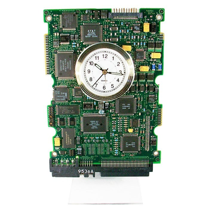 cool circuit board clock from a recycled computer hard by