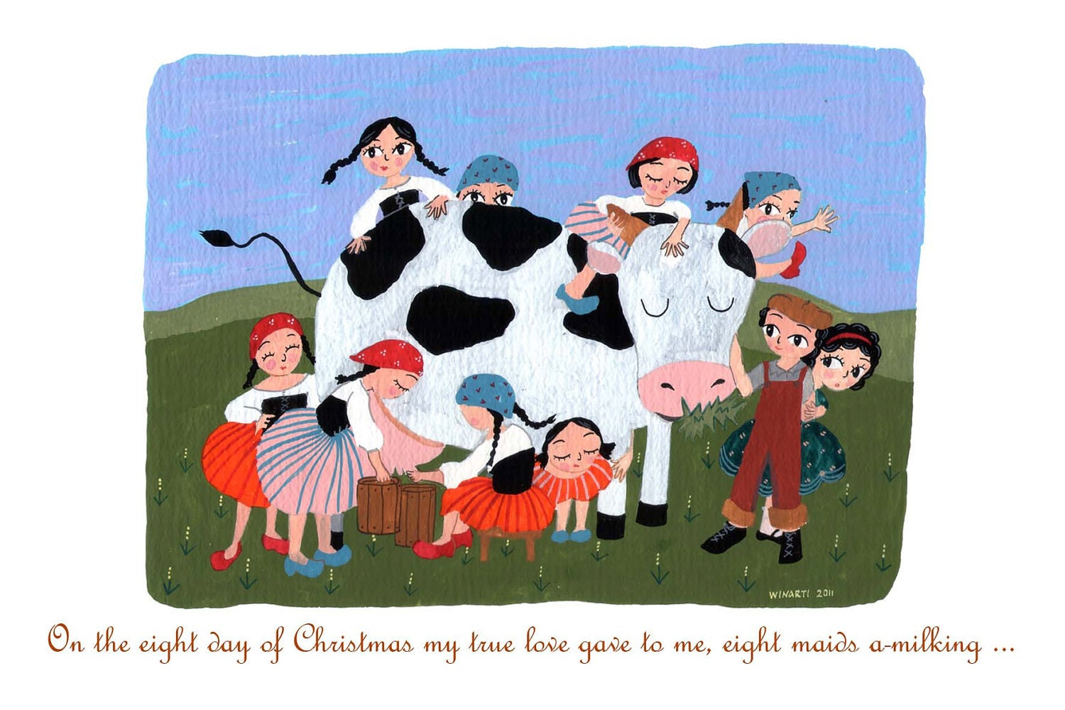 "8th Day of Christmas - 4"" x 6"" postcard"