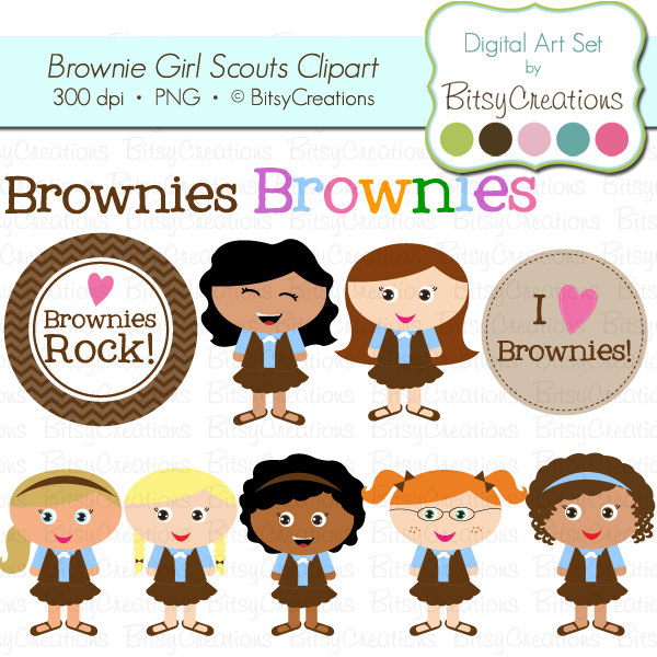 brownie girl scouts digital art set clipart by by