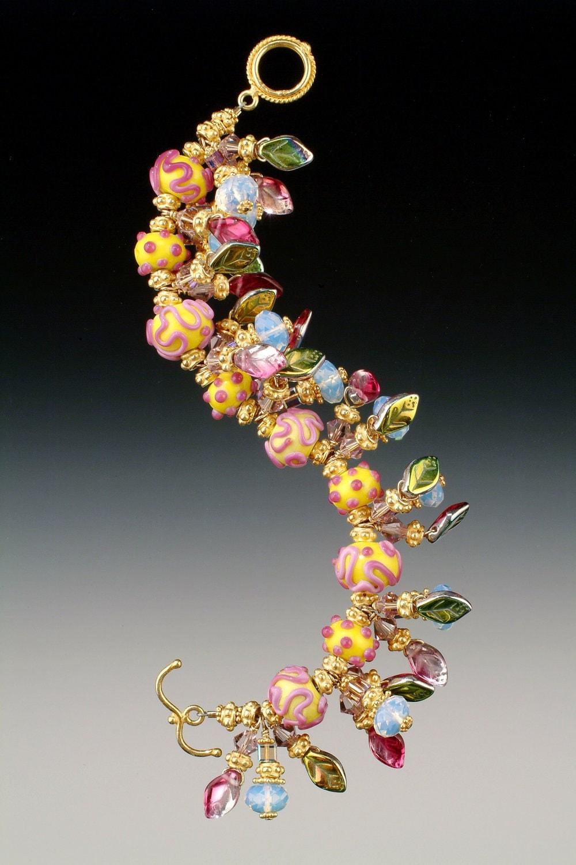 Lampwork Bracelet- Yellow Bumpy Bead- SRA